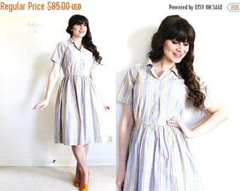 ON SALE 50s Dress / 1950s Dress / 50s Pastel Striped Day Dress