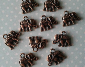 Red Copper Elephant Charms, Ready to Ship,Jewelry Supplies,DIY,Set Of 10