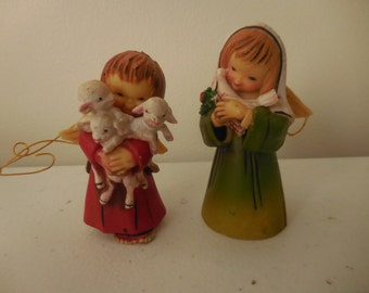 Two Vintage Resign Angel Ornaments