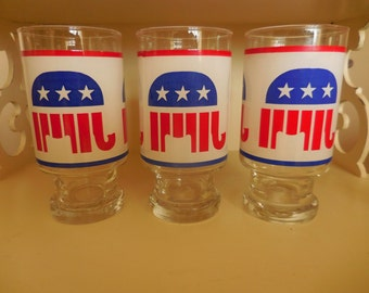 Three Vintage REPUBLICAN Drinking Glasses