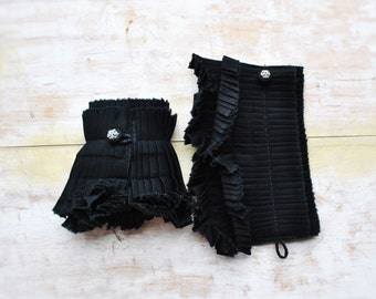 NEW Black hand pleated detachable cuffs/Hand made cuffs/Detachable cuffs/Ruffle detail cuffs/ Textile bracelet/ fabric cuff/rusteam