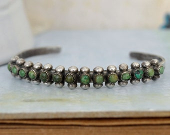 VINTAGE FIND sterling silver green turquoise stones native jewelry bangle bracelet