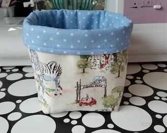 Bits & bobs Storage basket/box/tub in Cath Kidston Safari fabric/Blue dot