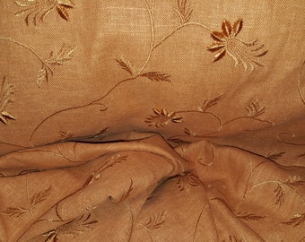 Soft  Dusty Orange  EMBRODIERED LINEN Woven  Upholstery Fabric, 11-29-10-0913