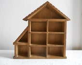 Small Wood Display House/Shadow Box with 9 Compartments
