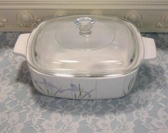 Vintage Corning Ware Pyroceram Shadow Iris Casserole, One Quart Liter, Mid Century Glass Pyroceram Cookware, Corelle Dinnerware Set