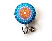 Sun Medallion - Retractable ID Badge Holder - Cute ID Badge Reel - Name Tag Holder - Nursing Badge Clip - RN - Teacher Badge - Gift for Her