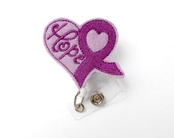 Purple Ribbon Awareness Badge Holder - Oncology Nurse Badge Reel - Alzheimers Badge - Pancreatic Cancer Badge - Awareness Badge Reel - Hope
