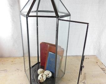 Vintage  Display Case or Box / Vitrine / Terrarium / Brass and Glass