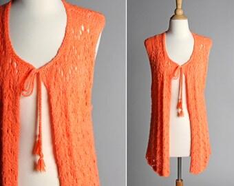 Vintage Neon Crochet Festival Vest - Knit Handmade Long Orange Peach Pink Sweater Top Open Front 1970's Women's - Size Medium or Large