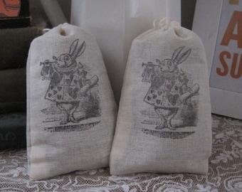 NEW alice in wonderland white rabbit lavender sachets set of 2