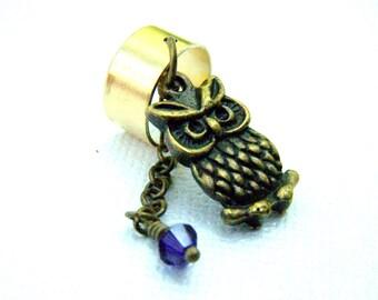 Owl Ear Cuff  Silver Owl Body Jewelry Swarovski Crystal Boho Ear Wrap Bohemian Earcuff