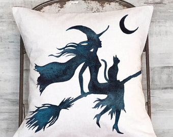Halloween Pillow Cover Witch on a Broom