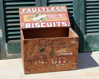 Vintage Wood Biscuit Box / Wilson-Cass Biscuit Co. Crate  / Industrial Storage