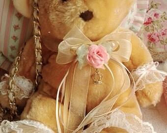 Golden Honey Teddy Bear Purse/Messenger Bag - Sweet Lolita Loli Hime Gyaru Princess Elegant Fairy Kei Decora Harajuku