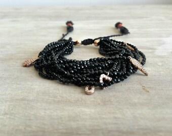 Onyx Bracelet with Rose Gold Pendants, Everyday Jewelry, Onyx statement jewelry, Statement bracelet
