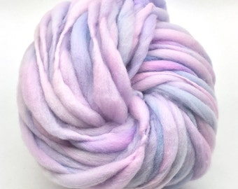 Thick and thin super bulky yarn in hand dyed merino wool - 53 yards and 3.4 ounces/ 97 grams