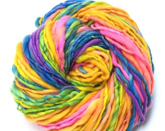 Handspun rainbow yarn, self striping  - 80 yards, 2.45 ounces, 69 grams