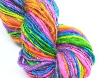 Handspun sparkly rainbow yarn, self striping  - 74 yards, 1.55 ounces, 45 grams
