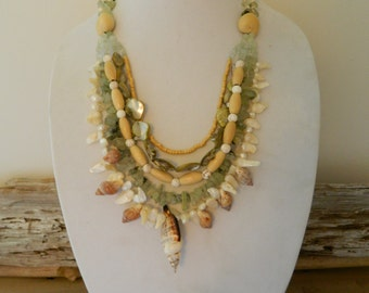 Gemstone & Shell Statement Necklace Ivory Cream Green Wood Gems Natural Organic Seashell Ocean Inspired Beachy Pearl Bone Bib Jewelry Etsy