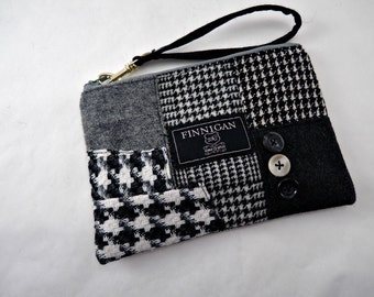 Womens Clutch, Womens Purse, Womens Wristlet, Cell Phone Purse, Small Purse, Upcycled Purse, Recycled Suit Coat, Eco Friendl