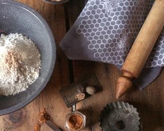 Gray Hand Dyed Tea Towel - Organic Linen Kitchen Towel -  Honeycomb Design -Screen Printed Dish Towel