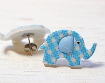 Large Elephant Earrings, Baby Blue Gingham Studs, Blue and White Plaid Earrings, Cute Nursery Animals Jewelry, African Safari Jewelry