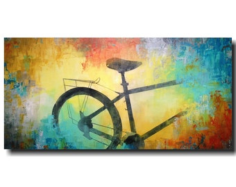 Large original wall art Sale bicycle oil paintings abstract painting by jmjartstudio 24 x 48 blue  birthday gift artwork