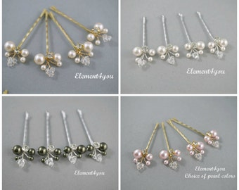 Ivory Pearl Clips Bridal Blonde Hair Pins Wedding Hair Accessories Swarovski Pearl Wedding Hair Pins Set of 4 Floral Vine White hair clips