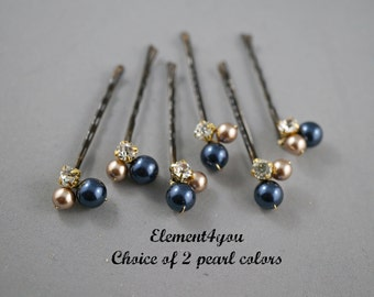 Set of 6 Fall Bridal Hair Bobby Clips Bridesmaid hair do Champagne Navy Blue pearls hair clips Pearls clusters Silver wedding accessories