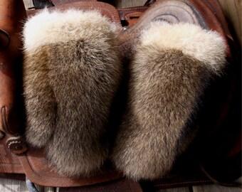 Raccoon fur mittens with coyote trim and purple fleece liner handmade medium