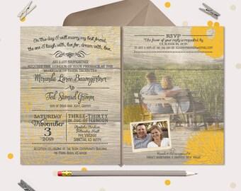 Rustic Wood Wedding Invitation - charming & custom - printable files  (170)