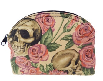"""US Handmade Clutch Purse, Pouch, Make Up Bag, COSMETIC BAG With """"Resting In Pink Roses"""" Pattern, Cotton fabric, New"""