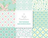 MINT Florals  PATTERNED BACKGROUND set in Bright Pastels for personal and commercial use - digital papers, vintage, retro