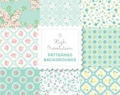 MINT Florals  PATTERNED BACKGROUND set in Bright Pastels for personal use - digital papers, vintage, retro