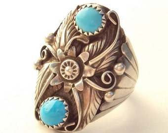 Ring, Sterling and Turquoise, Native American, Large, Vintage