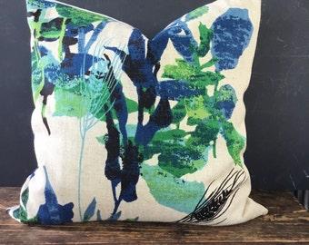 Vintage Linen Botanical Pillow Cover