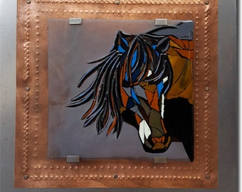 Wild Mustang - Mosaic Horse Fused Glass Wall Art