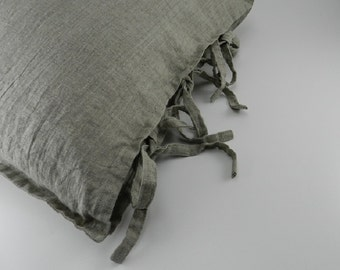 Handmade Decorative Linen Pillow Cover with Flange / Throw Pillow Cover / Pillow Sham --- Tie Closure / Three Small Ties