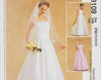 McCalls 3109 / Out Of print sewing Pattern / Wedding Dress / Bridal Gown / Sizes 18 20 22