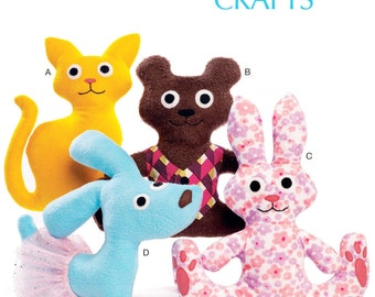 Easy Stuffed Animals Pattern, McCall's Sewing Pattern 7451