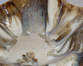 Ceramic Bowl, Pottery Vessel, Pottery Handmade, Slab Pottery, Ceramic Sculptural Form, White and Gold, Ceramics and Pottery