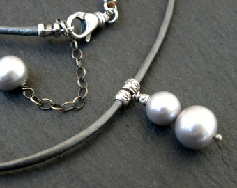 Pearl Necklace Sterling Silver Leather Gray Metallic Chain Necklace Urban Modern