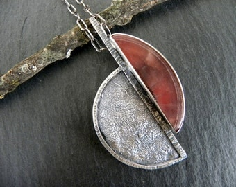 Raw Sterling Silver Rhodocrosite Necklace Pendant Organic Heavy Textured Modern Unique OOAK