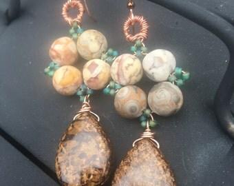 Bronzite Mosaic earrings, 14k Rose Gold filled, Copper, Fossil Jasper, Seedbeads, Bronzite, and Hematite, ThePurpleLilyDesigns