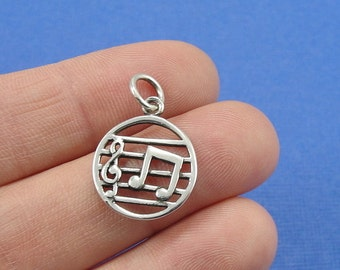 Music Notes and Treble Clef Charm - Sterling Silver Musical Note Treble Clef Charm for Necklace or Bracelet