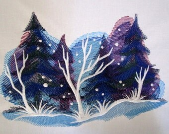 Winter Magic Embroidered Large Quilt Block