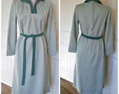 Vintage 70s by Forever Young dress - green on green with matching belt mint condition