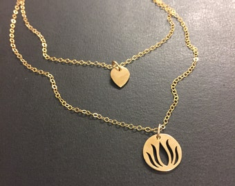 Lotus Petal and Lotus Flower Charm Layered Necklaces
