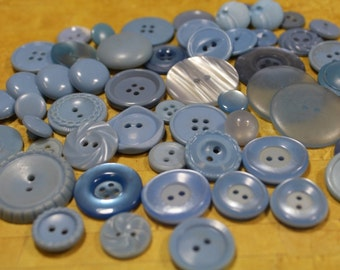 Baby Blue Plastic Buttons 65 Blue Plastic Button Lot
